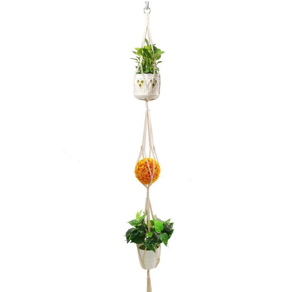 Handcraft Natural Cotton Knit Tassel//Simple Cord Plant Hanger Hanging Basket 0B