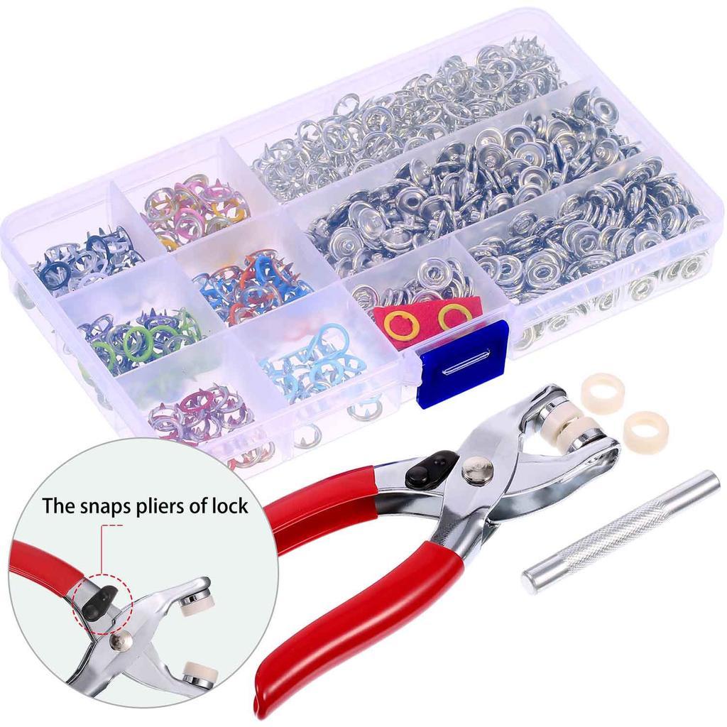 kit de ojales de metal de 9,5 mm ropa fina costura 200 juegos de broches de presi/ón para herramientas botones de presi/ón con alicates para manualidades