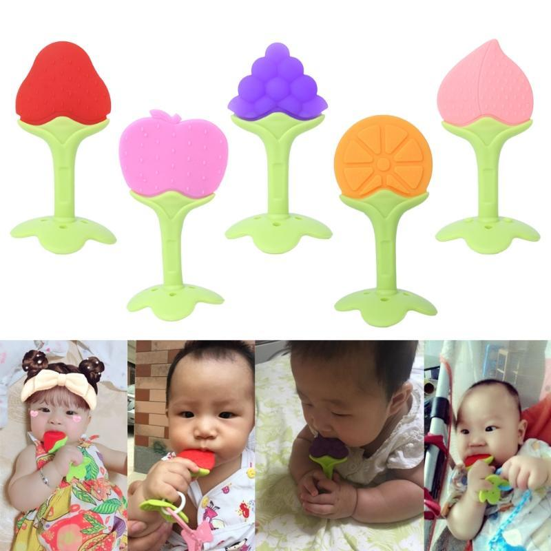 1pc Newborn Infant Baby Teether Safe Soft Grape Silicone Teething Biting Toy
