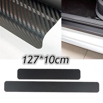 Car Rear Bumper Sill Plate Cover Anti Scratch Sticker 3D Carbon Fiber Look Black