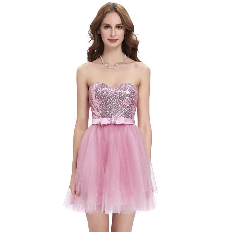 Tul corto vestido Strapless lentejuelas Mini coctel fiesta de Dama ...