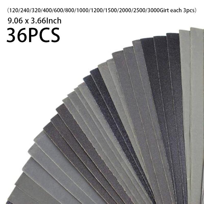 Wet Dry Sandpaper 400-3000 Grit Assortment Abrasive Sanding Paper 36Pcs//Set