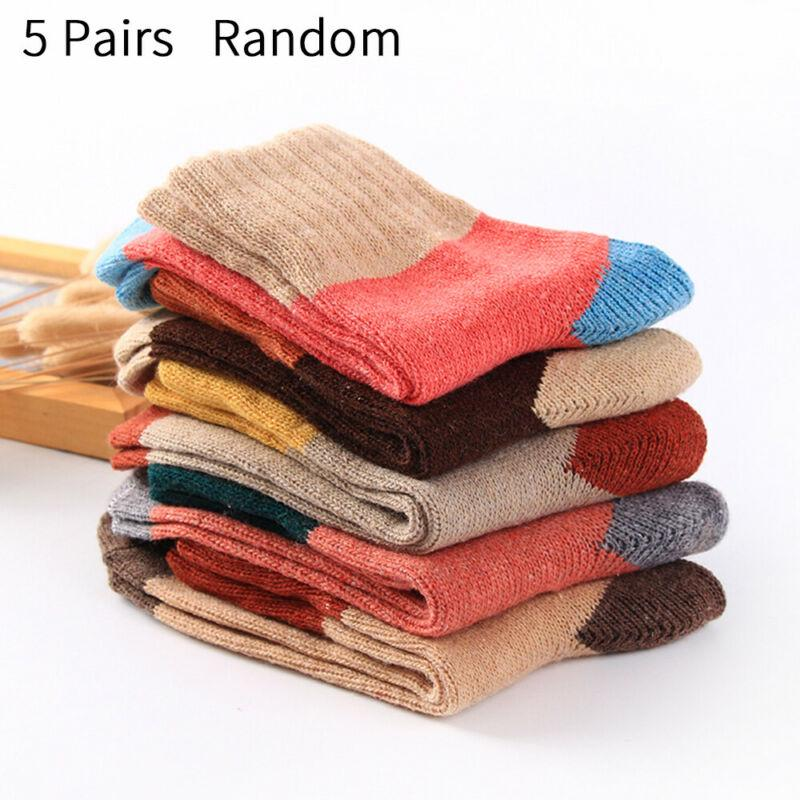 5 Pairs Mens Wool Cotton Casual Sports Solid Warm Thicken Terry Winter Socks Lot