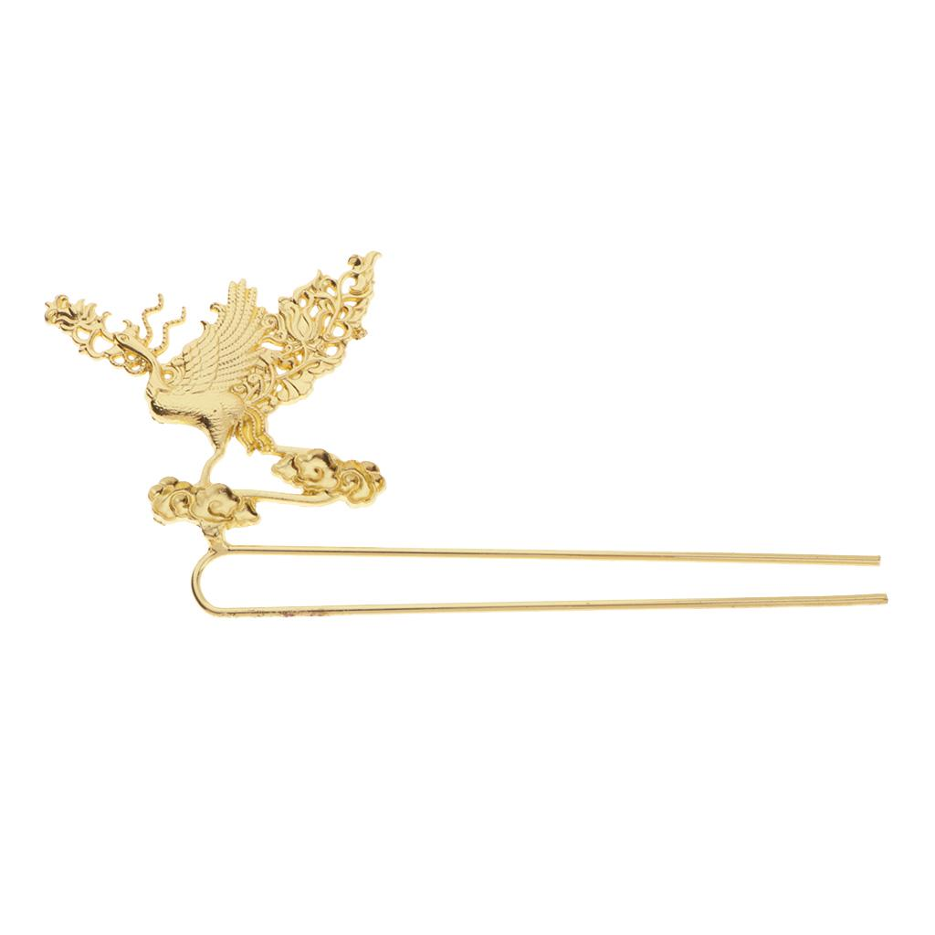 Women Phoenix Vintage Alloy Hair Stick Printed Metal Hair Pin Sticks Jewelry