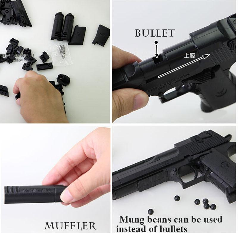 Black DIY Building Blocks Gun Model Assembling Pistol Eagle Puzzle Toy For Kids