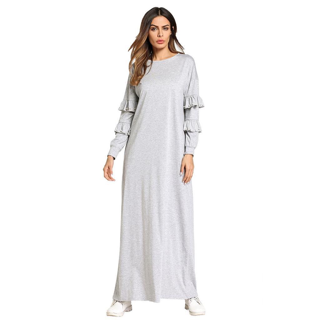 5d9485611901 Women Muslim Robe Solid Ruffles Design Maxi Dresses Brief Elegant ...
