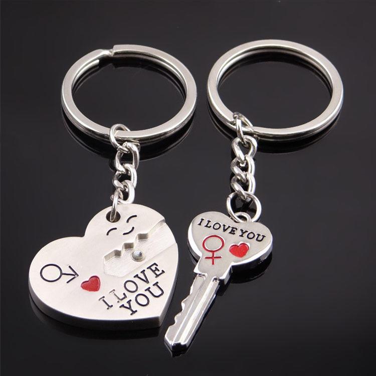 I LOVE YOU Heart Arrow Key Couple Keychain Cupid Keyring Keyfob Lover Gift