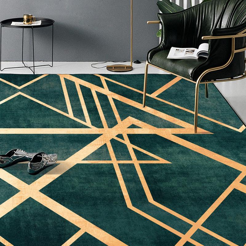 Retro Dark Green Gold Line Rug Doormat Bedroom Living Room Floor Mat Home Decor Buy At A Low Prices On Joom E Commerce Platform