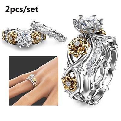 Élégant or rose rempli anneaux de mariage pour femmes Blanc Saphir Bague Taille 6-10
