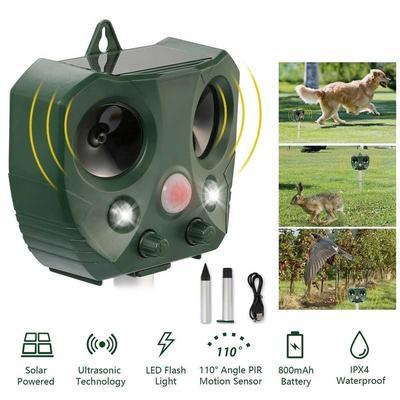 Solar Power Ultrasonic Animal Repeller Pest Cat Dog Fox Repellent Outdoor Garden