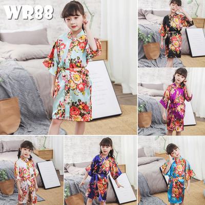Toddler Baby Girls Floral Silk Satin Kimono Robes Bathrobe Kid Sleepwear Clothes