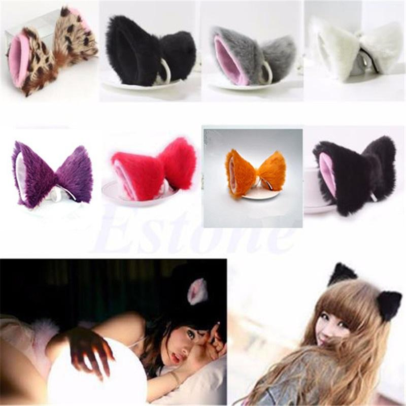 Cosplay Halloween Party Cat Animal Ear Long Fur Orecchiette Anime Ear Hair Clip