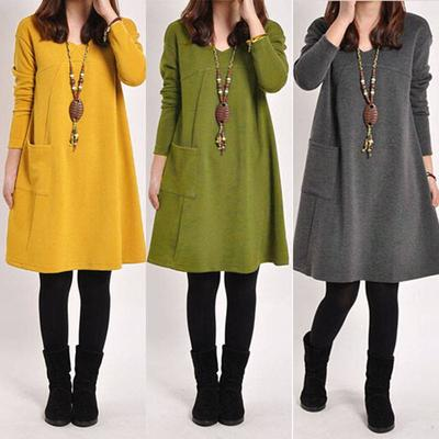f674249afc87 5 color Women Winter Long Loose Casual Cotton Pregnancy Dress Sleeve Pocket  Tunic Tops