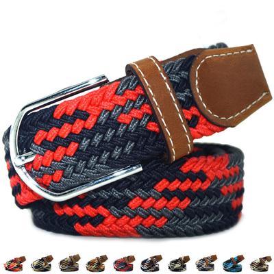 7bb978c975b4 120cm caoutchouc Elastique Stretch ceinture alliage broche boucle tissé ceinture  pour hommes femmes