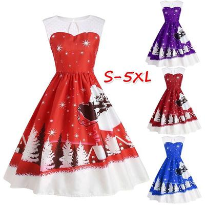 c3677e5d758 Christmas femmes robe dentelle Patchwork Santa Claus Print Plus Taille Robe  Vintage