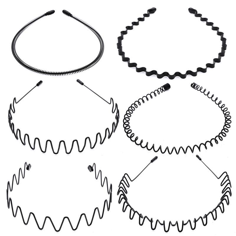 Fashion Sports Wave Hair Band Hoop Metal Black Headband Men Women Accessories