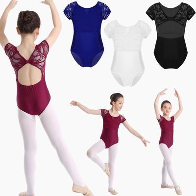 iEFiEL Kids Girls Classic Short Sleeves Floral Lace Leortard Gymnastics Ballet Dance Costume Jumpsuit Bodysuit Dancewear