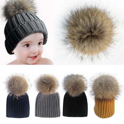 72d2a1d4441 Baby Cute Beanie Raccoon Fur Pom Bobble Woolen Kids Warm Crochet ...