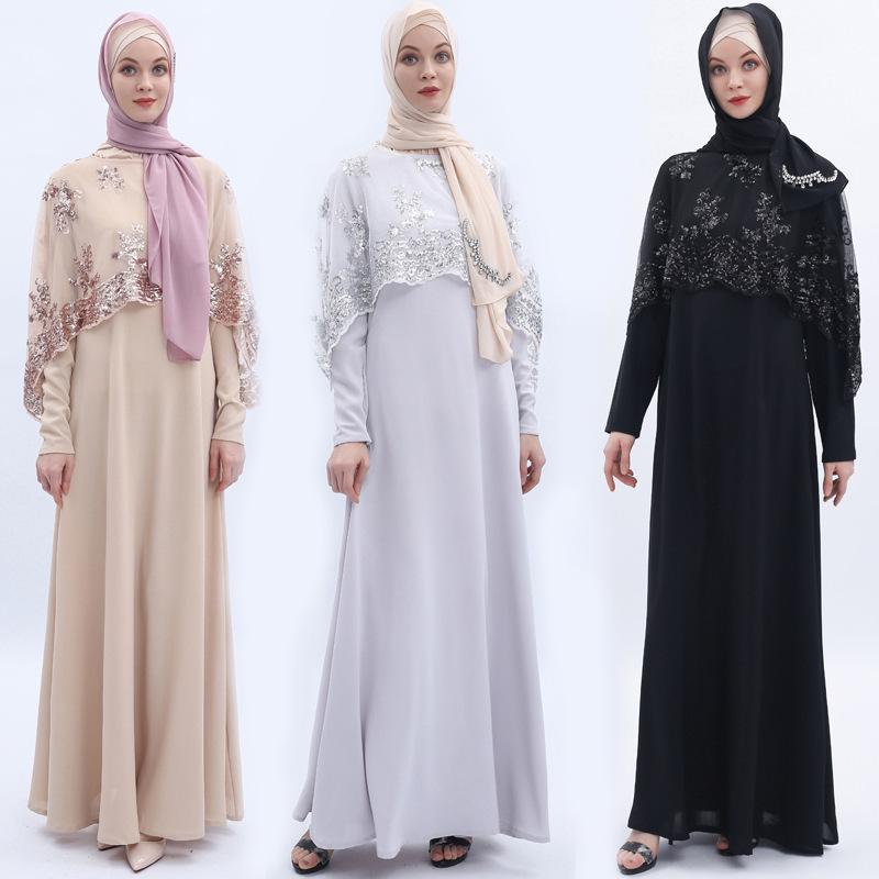 Buy Cape Sequin Embroidery Long Sleeves Muslim Dress Evening Gown Islamic  Clothing at affordable prices — free shipping, real reviews with photos —  Joom