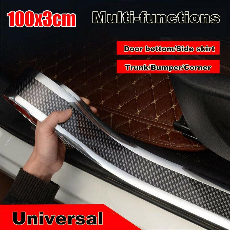 Car Carbon Fiber Silver Edge Guard Strip Door Sill Protector Accessories 7cm*1m