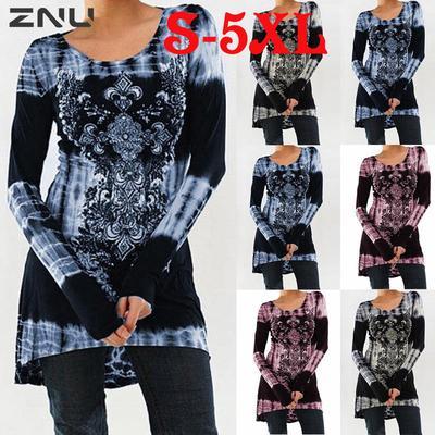 c900b72e4e8 ЗНУ плюс размер женщин цветочные панк длинный рукав топы длинная рубашка  осень казуальные игры Свободная туника