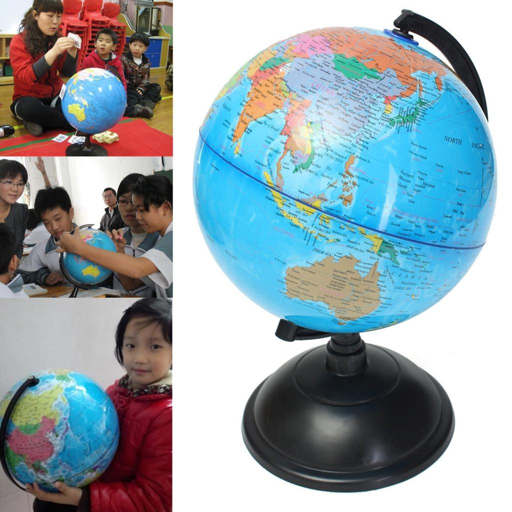 20cm Rotating Earth Globe World Map Swivel Stand Geography Educational Kids Toy