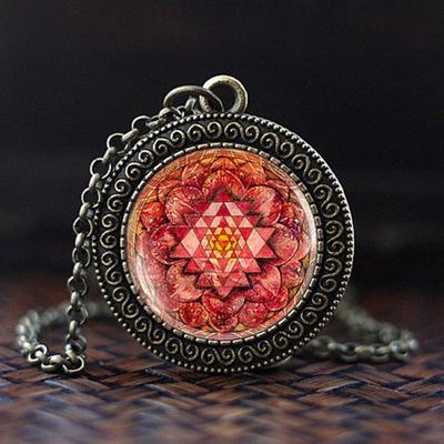 Pink lotus Sri yantra mandala necklace, Yoga Meditation Pendant, Spiritual  Yoga Jewelry gift,