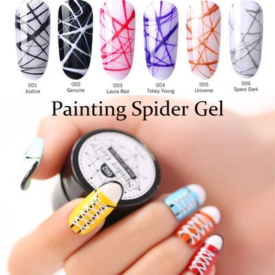 Nice 6 Colors Innovative Spider Glue Nail Phototherapy Glue Stretching Drawing Silk Painted Plastic Pull Flower Line Nail Polish Gel Nails Art & Tools