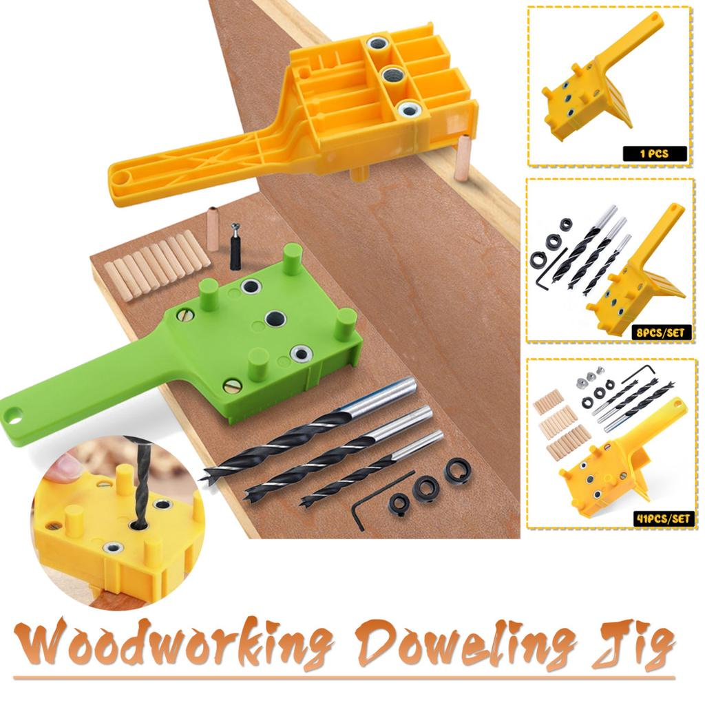 41PCS Handheld Woodworking Dowel Jig Set Wood Hole Drilling Guide DIY Tool 6//8mm