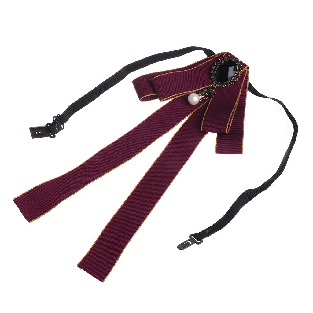 JUNESUN Brooch jewelry Women Men Ribbon Long Large Bowknot Bow Tie Brooches With Necklace Fashion