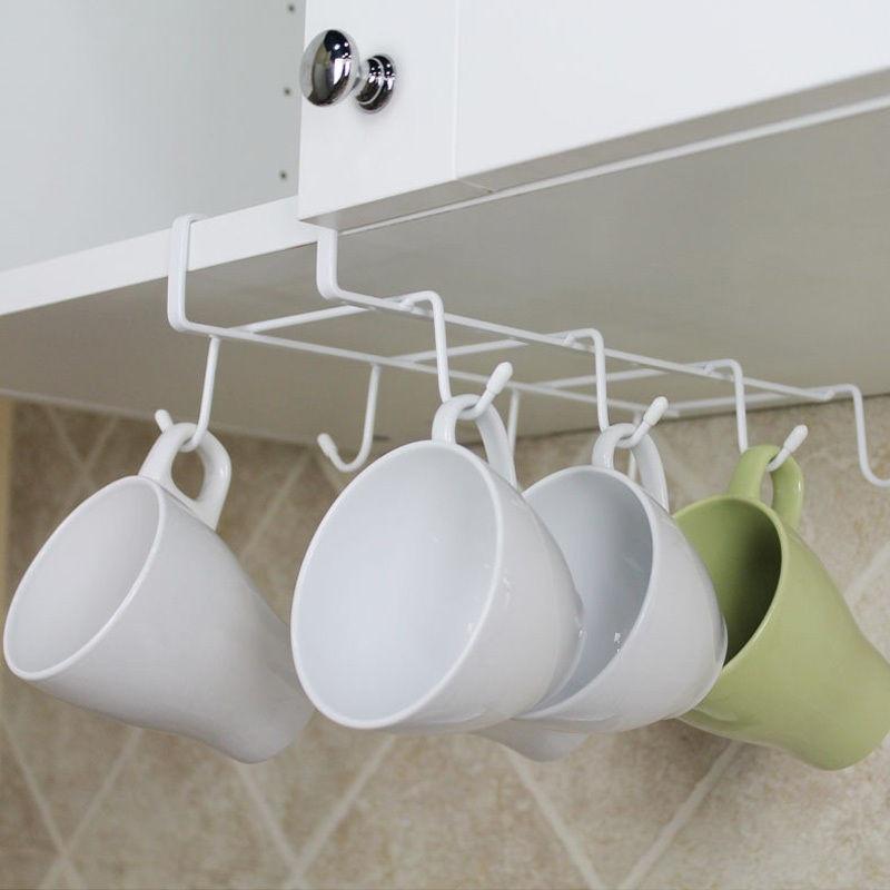 8 Haken Küche Rack Stauraum unter dem Regal Tasse Becher Halter ...