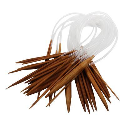 """18 paires 16/"""" 40 cm carbonisé bambou Aiguilles à tricoter Multicolore Tube circulaire"""