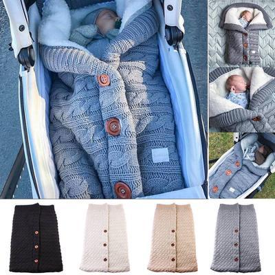 Newborn Baby Girl Boy Knit Crochet Swaddle Wrap Swaddling Blanket Sleeping Bag