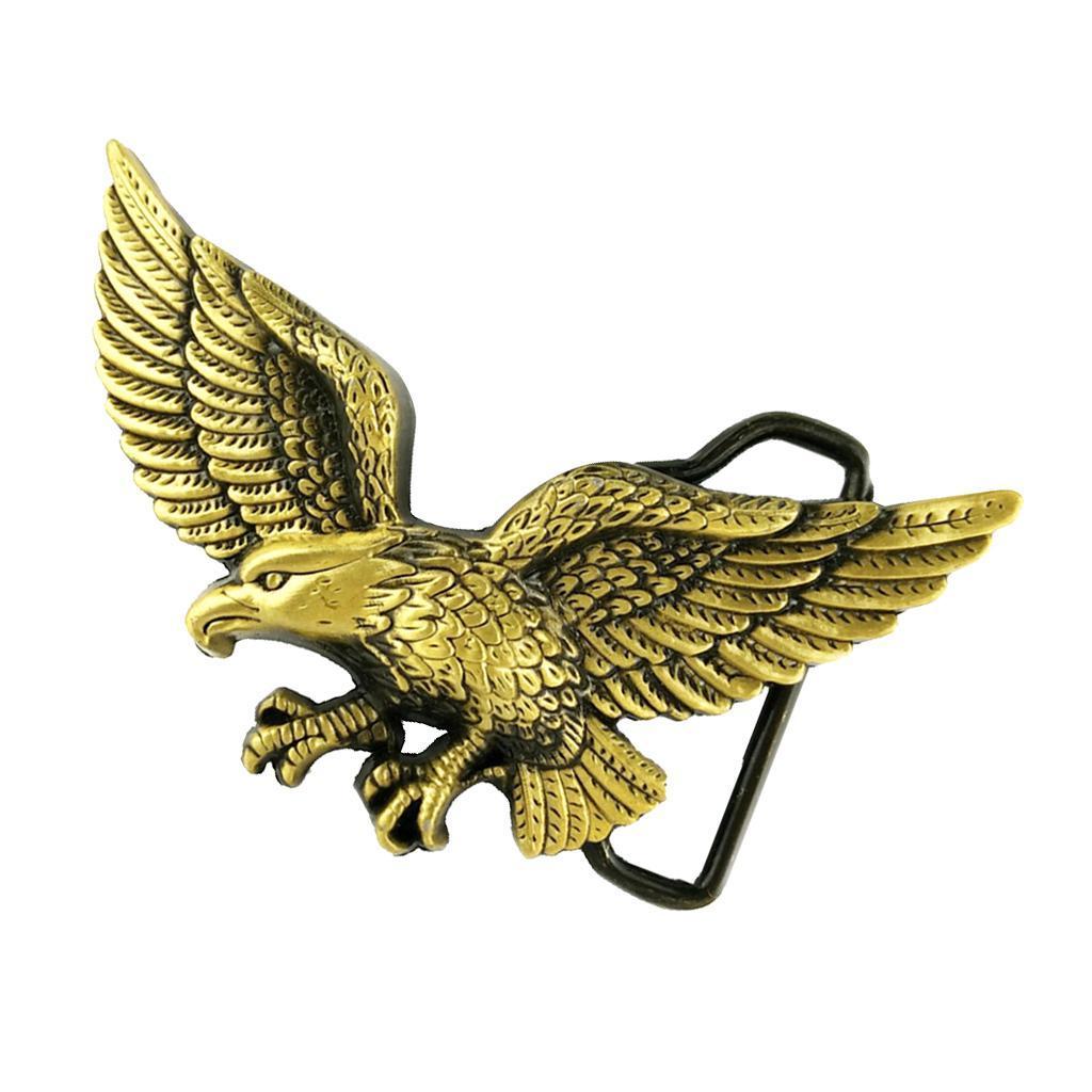 Craved 3D Eagle Metal Belt Buckle Head for Western Men Cowboy Bronze Jewelry