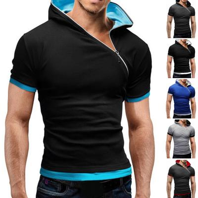 YYear Mens Short Sleeve Summer Heap Collar Personality Athletic Casual T-Shirt
