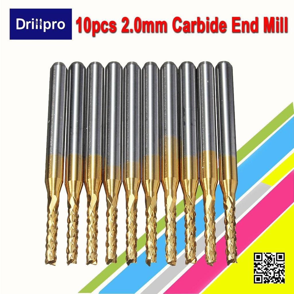 Drillpro 10pcs 2mm 1 8 Shank Engraving Bit Carbide End Mill Cnc 22mm Printed Circuit Board Cutter Pcb Router Cutting Of