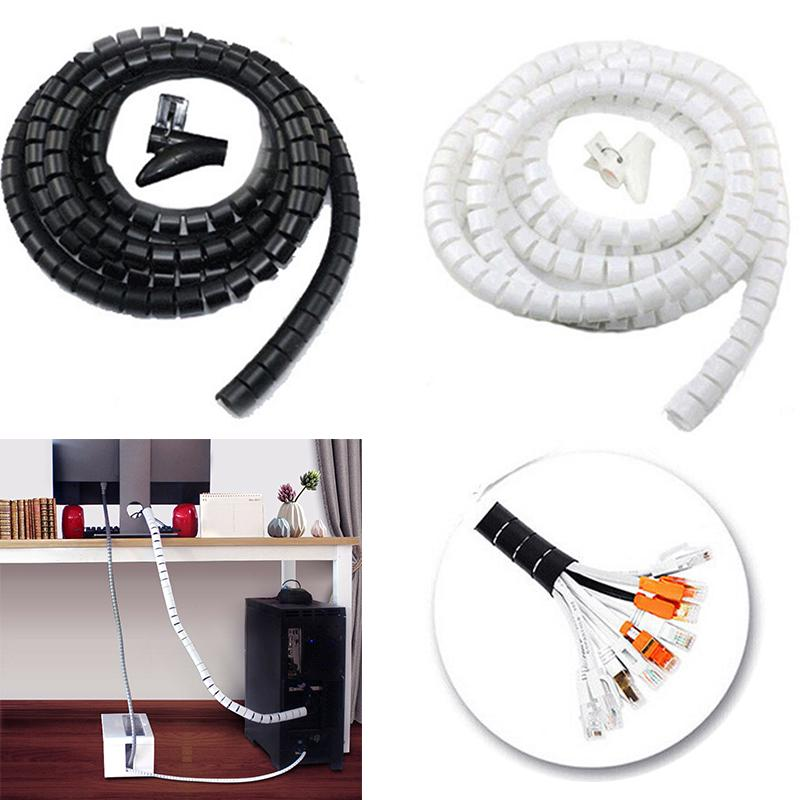 Cable Hide Wrap Tube 1.5m Organizer /& Band Management Wire Spiral Flexible Cord