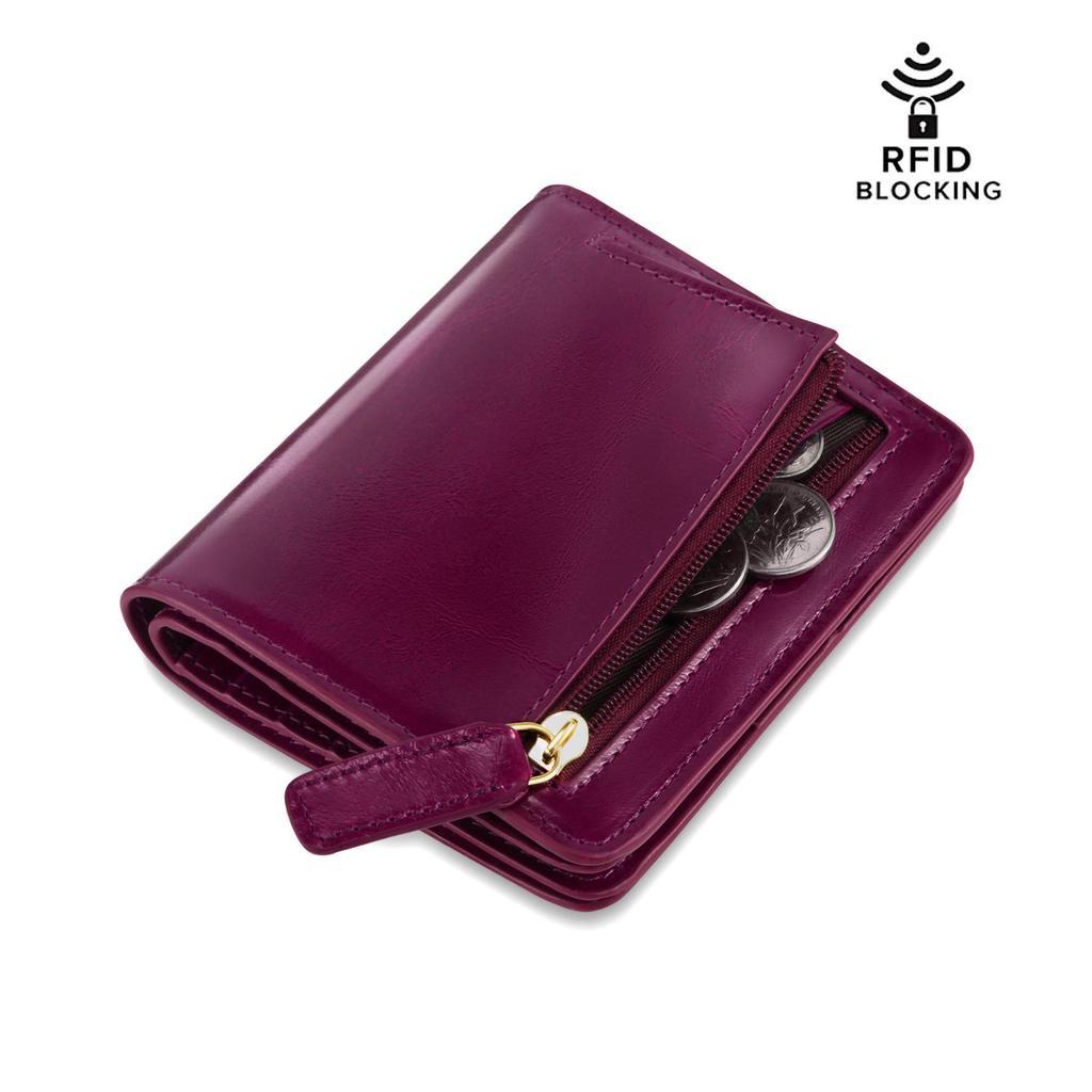 Vintage Women Simple Wallet Oil Embossed Plum Short ID Card Bag Purse Wallet IT