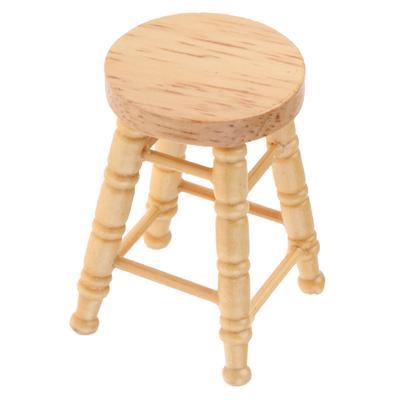 "DOLLHOUSE Miniatures 1:12 Scale Miniature 2/"" Solid Oak BAR STOOL"