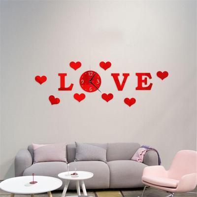 Mirror Effect 3D Love Heart Wall Clock Sticker DIY Analog Home Art Hanging Decor