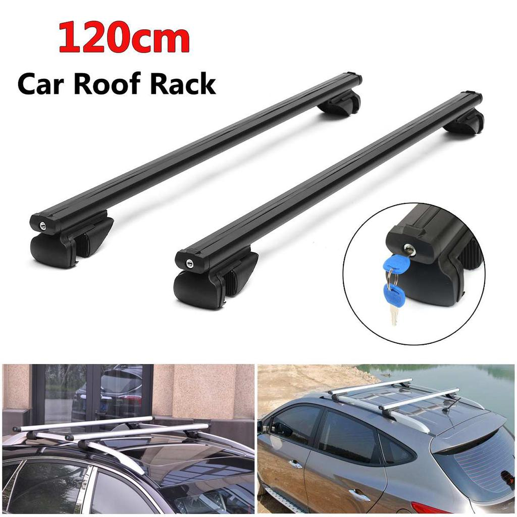UNIVERSAL 120CM LOCKABLE CAR ROOF RACK RAILS BARS LUGGAGE CARRIER