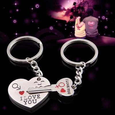 "I Love You"" Heart+Arrow + Key Couple Key Chain Ring Keyring Keyfob For"