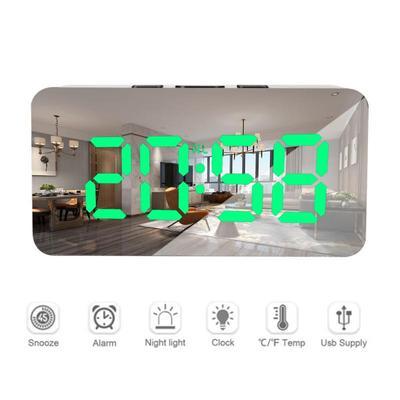 LED Mirror Alarm Clock Digital Snooze Table Clock Wake Up Lights Electronic Time Temperature Display Multifunctional Clock Home Decoration Clock