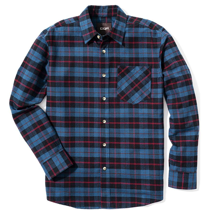 CQR Mens Flannel Long Sleeved Button-Up Plaid All Cotton Brushed Shirt