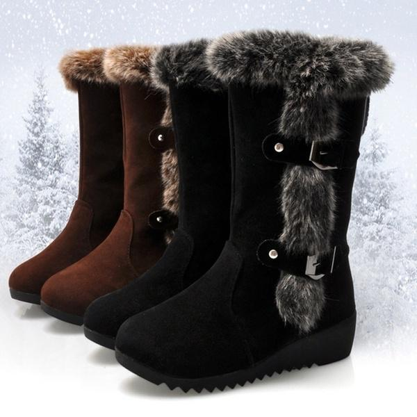 New womens faux fur snow winter Platform Boots Wedge Heel Mid Calf Boots size 38