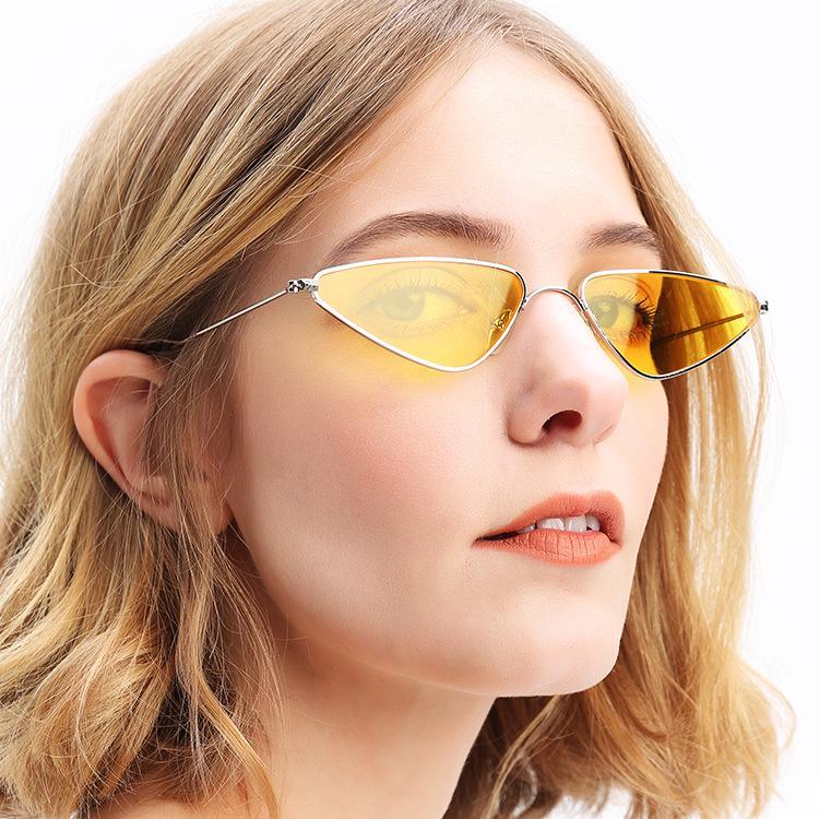 NEW Cat Eye Sunglasses Women Rimless Metal Frame Vintage Narrow Triangle Eyewear