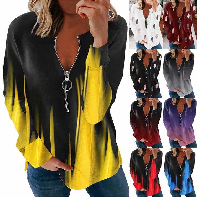 Большой размер Свободные женщины Топы Мода Повседневный Чистый цвет Полоса Молния Длинные рукава Повседневная блузка Рубашка купить недорого — выгодные цены, бесплатная доставка, реальные отзывы с фото — Joom