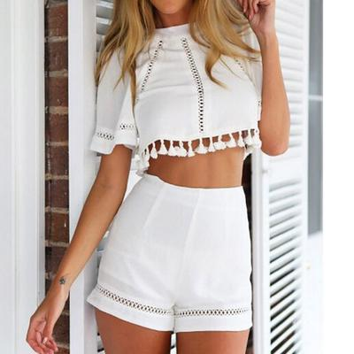 ROMWE Womens Striped Belted Elastic Waist Frill Trim Causal Summer Paperbag Shorts