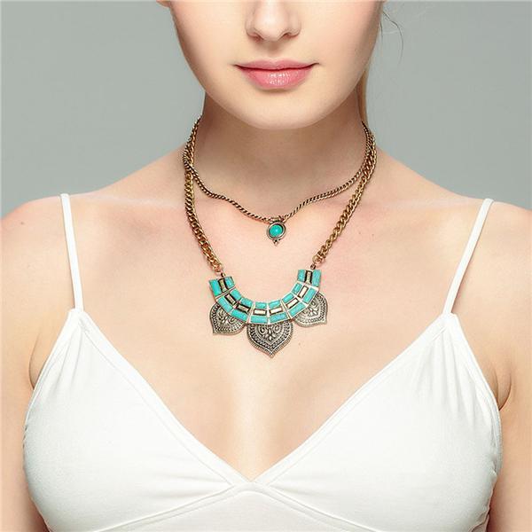 6abb3608e52f Manera exagerada imitación verde colgante piedra multicapa dos capas cadena  del collar para la mujer - comprar a precios bajos en la tienda en línea  Joom