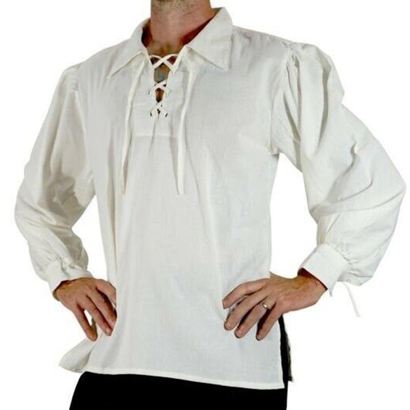 Medieval Renaissance Men Long Sleeve Shirt Top Peasant Pirate Knight Cosplay
